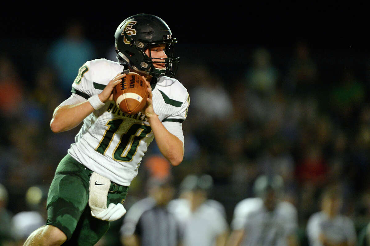 Peyton Bertrand School: East Chambers Position: QB Notes: Bertrand threw for 119 yards, rushed for 86 yards and had two touchdowns to keep the Bucs undefeated in district play with a 28-7 win over La Marque.