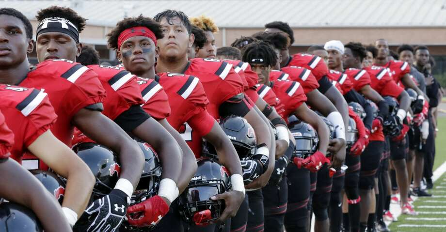 PHOTOS: Friday night footballWestfield players line up for the National Anthem before their game against North Shore at George Stadium in Spring, TX, Sept. 15, 2017. (Michael Wyke / For the  Chronicle)Browse through the photos to see action from area high school football on Friday night. Photo: Michael Wyke/For The Chronicle