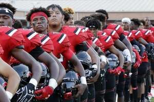 Westfield players line up for the National Anthem before their game against North Shore at George Stadium in Spring, TX, Sept. 15, 2017. (Michael Wyke / For the  Chronicle)