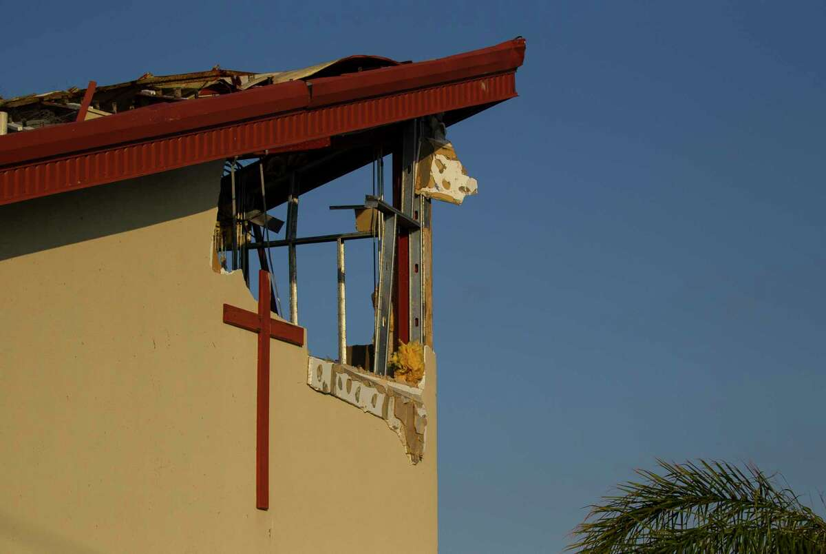 St. Peter's Catholic Church building is destroyed in Rockport, TX, Friday, Sept. 15, 2017. Hurricane Harvey destroyed the church when it came ashore August 25. The church has services in Vietnamese and English.