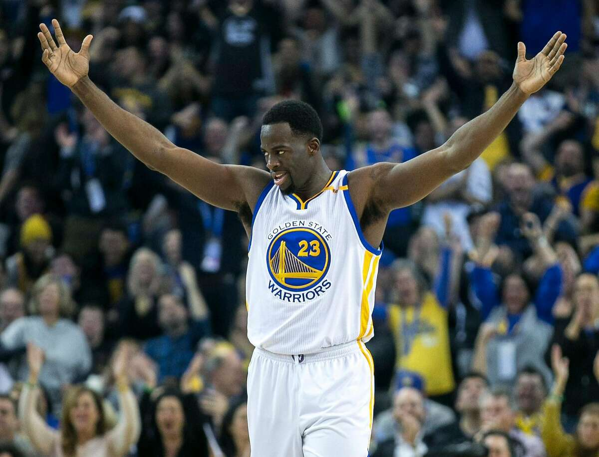 Golden State Warriors forward Draymond Green (23) celebrates during the first half of an NBA basketball game between the Golden State Warriors and the Detroit Pistons on Thursday, Jan. 12, 2017, at the Oracle Arena in Oakland, Calif. The Warriors lead 60-58 at halftime.