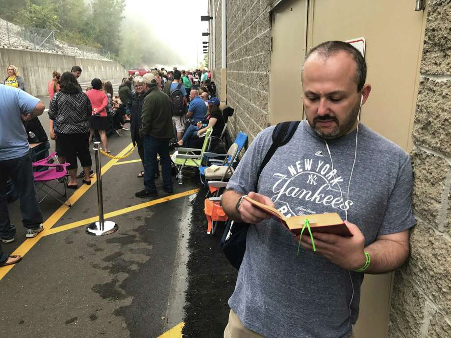 Maxim Belkin, of Danbury, was in line at 6:30am at Costco, in Brookfield, to meet Hillary Clinton and get an autographed copy of her new book. Saturday morning, September 16, 2017, in Brookfield, Conn. Photo: H John Voorhees / Hearst Connecticut Media / The News-Times