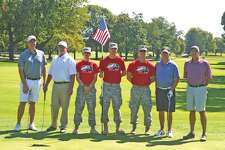 Golfers and volunteers during Monday's Folds of Honor golf event at Sunset Hills Country Club included, left to right, Mike Burke, Brian Farmer, William Henry, Colby Utz, Jeff Telford, Larry Hepler and David Hylla. Henry, Utz and Telford are Army ROTC members from SIUE.