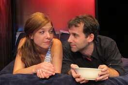 """Susan Slotoroff and Morgan Hooper in """"How to Pray"""" at Bridge Street Theatre. (BST publicity photo.)"""