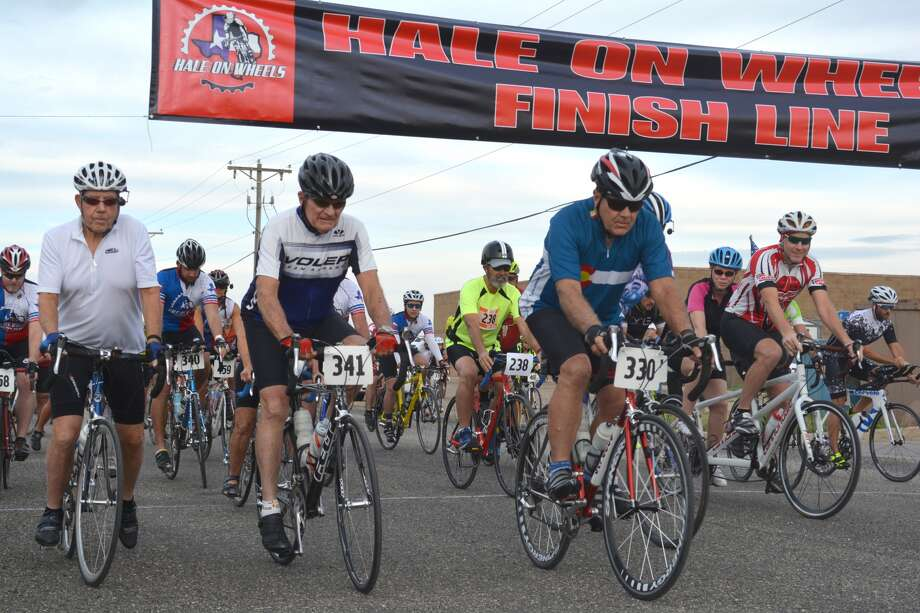 Cyclists leave the starting gate Saturday morning for the Ninth Annual Hale on Wheels Bicycle Race, the opening event of the 19th annual Cowboy Days Celebration in Plainview. Hale on Wheels organizers were still compiling late entries as the event began, but anticipated this year's race would be the largest one ever. Course lengths were 63, 45, 30 and 23 miles with cruiser rides of 3.1 and 1.0 miles. Other Cowboy Days events included a parade, live music, vendors, petting zoo, free pictures with Ralph Fisher's World Famous Trained Texas Longhorns and Oscar the Buzzard, bungee jumping, 4-H horse rides, stick horse race, Kids Kraft Korral, mechanical bull, giant inflatables and more. The annual event is hosted by the Plainview Herald. Major sponsors include High Plains Concrete, Reagor-Dykes Auto Group, Gebo's, Azteca and Plainview Main Street.