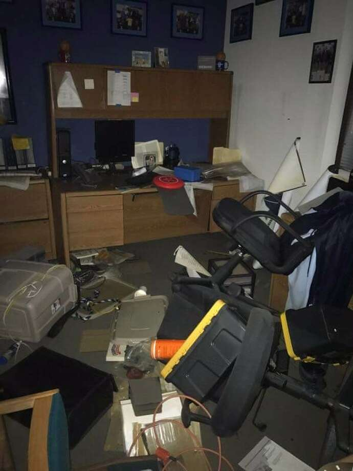 A photo from the GoFundMe site shows the damage that was done to a Kingwood High School swimming office by the flood waters in the wake of Hurricane Harvey Photo: Laura Ledlow Fine, KHS Swim And Dive GoFundMe