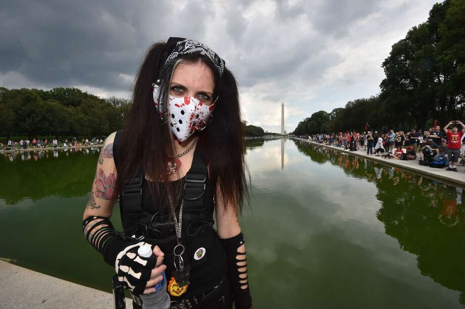Fans of the US rap group Insane Clown Posse, known as Juggalos, protest on September 16, 2017 in front of the Lincoln Memorial in Washington, D.C. against a 2011 FBI decision to classify their movement as a gang. / AFP PHOTO / Paul J. Richards        (Photo credit should read PAUL J. RICHARDS/AFP/Getty Images) Photo: PAUL J. RICHARDS/AFP/Getty Images