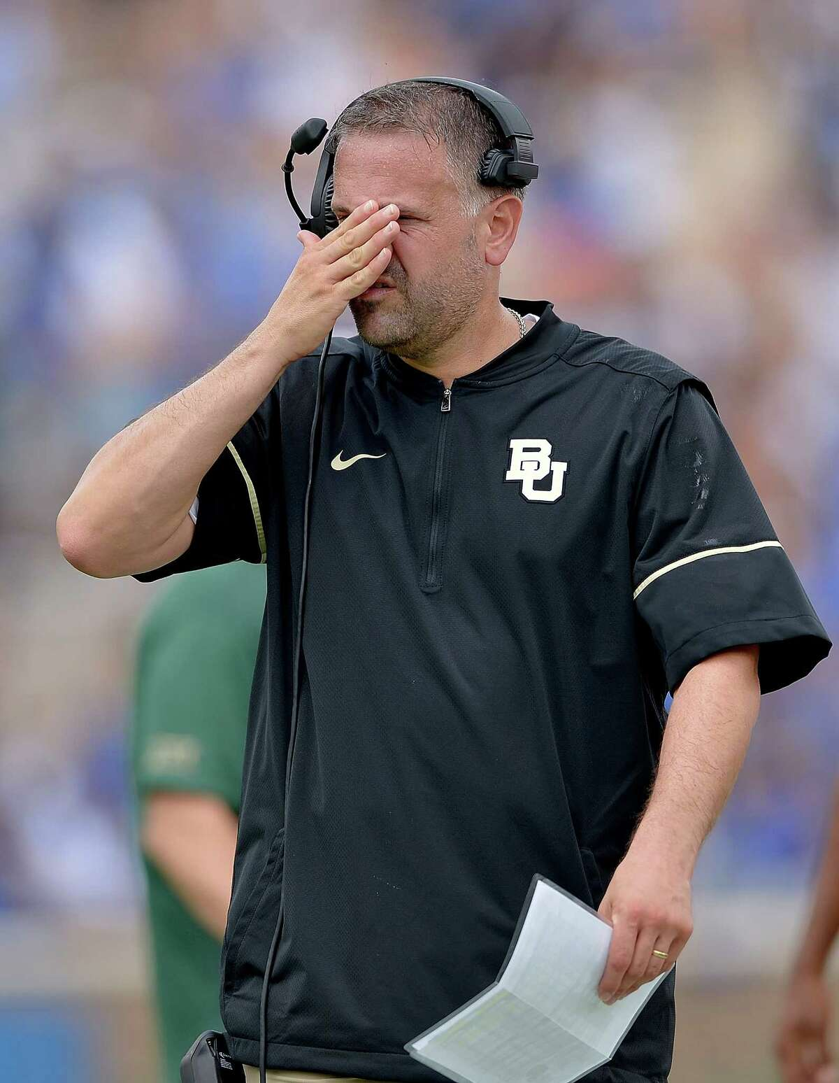 DURHAM, NC - SEPTEMBER 16: Head coach Matt Rhule of the Baylor Bears reacts during the game against the Duke Blue Devils at Wallace Wade Stadium on September 16, 2017 in Durham, North Carolina.