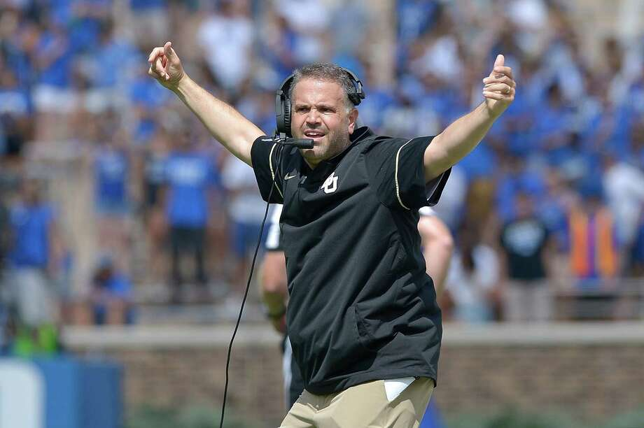 DURHAM, NC - SEPTEMBER 16:  Head coach Matt Rhule of the Baylor Bears reacts during the game against the Duke Blue Devils at Wallace Wade Stadium on September 16, 2017 in Durham, North Carolina. Photo: Grant Halverson, Getty Images / 2017 Getty Images