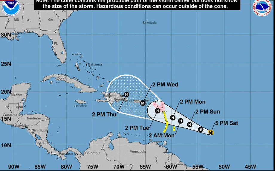 Tropical Storm Maria formed Saturday afternoon.  Photo: National Hurricane Center