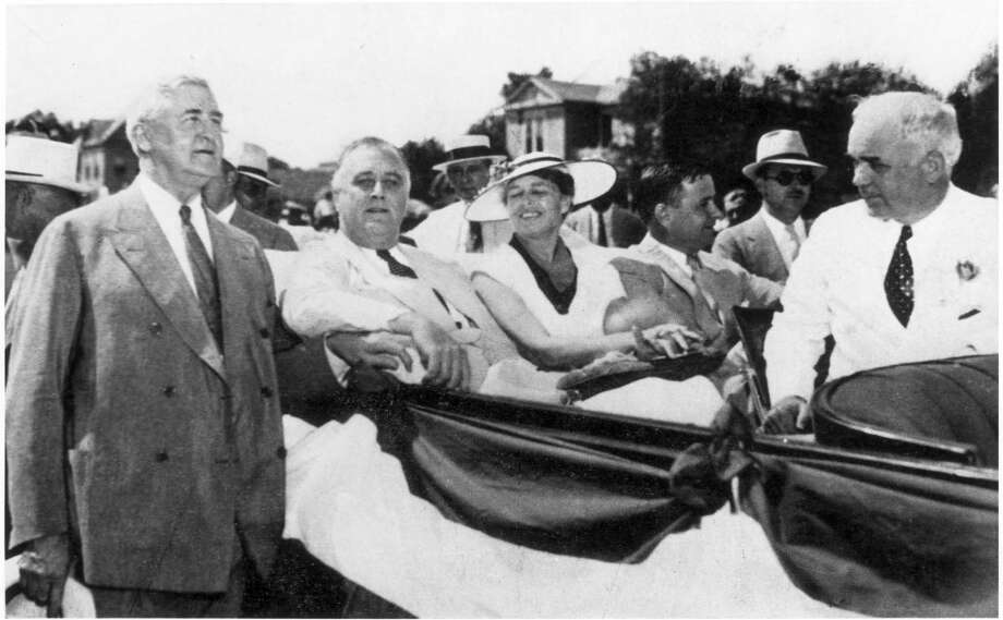 June 1936 -- FDR. Franklin Delano Roosevelt.  Governor James V. Allred is seated next to Mrs. Roosevelt, Mayor Oscar F. Holcombe in middle seat, Jesse H. Jones at left. / handout