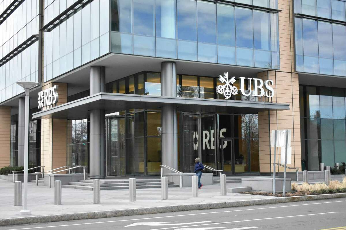 The Stamford offices of UBS and Royal Bank of Scotland at 600 Washington Blvd., in March 2017. UBS reported a Stamford workforce numbering 800 people in 2016, down from an official figure of 2,000 it cited a year earlier.