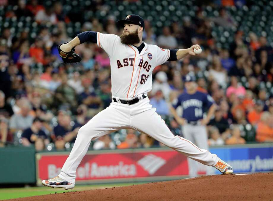 Houston Astros starting pitcher Dallas Keuchel throws against the Seattle Mariners during the first inning of a baseball game Saturday, Sept. 16, 2017, in Houston. (AP Photo/David J. Phillip) Photo: David J. Phillip, STF / AP