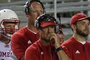Tomball's head coach Kevin Flanigan during the first half of the game against Tomball at the Woodforest Bank Stadium Friday, Sept. 8, 2017, in The Woodlands. ( Yi-Chin Lee / Houston Chronicle )