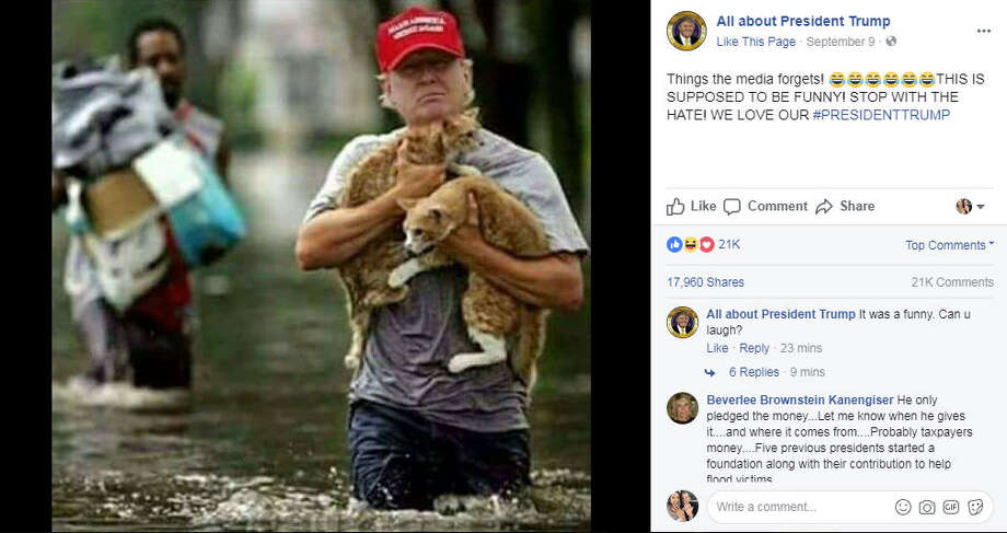 "A photoshopped image of President Trump ""rescuing"" two cats from Harvey flood waters has garnered the attention of people everywhere. Photo: All about President Trump Facebook Photo: Facebook"