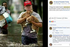 "A photoshopped image of President Trump ""rescuing"" two cats from Harvey flood waters has garnered the attention of people everywhere.   Photo:  All about President Trump Facebook"