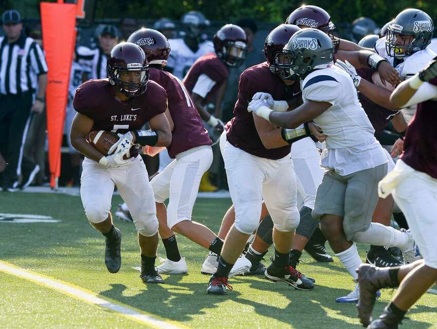 Capitol Prep Harbor defeated St. Luke's 46-0 in a FAA varsity football game at Watson Field at Pedrick Stadium on Saturday, Sept. 16, 2017 in New Canaan, Connecticut.