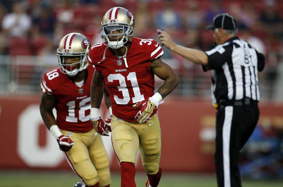 San Francisco 49ers' Asa Jackson (31) during the first half of a preseason NFL football game against the Los Angeles Chargers Thursday, Aug. 31, 2017, in Santa Clara, Calif. (AP Photo/D. Ross Cameron) Photo: D. Ross Cameron, Associated Press