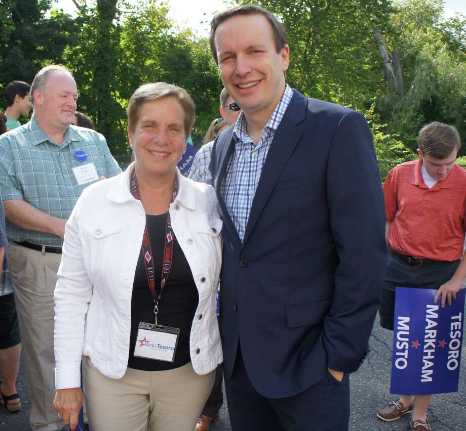 Senator Chris Murphy visited Trumbull to show support for first selectman candidate Vicki Tesoro on Saturday, Sept. 16, 2017. Murphy visited Tesoro's campaign headquarters in Trumbull, Conn. Photo: Contributed Photo / Contributed Photo / Connecticut Post Contributed