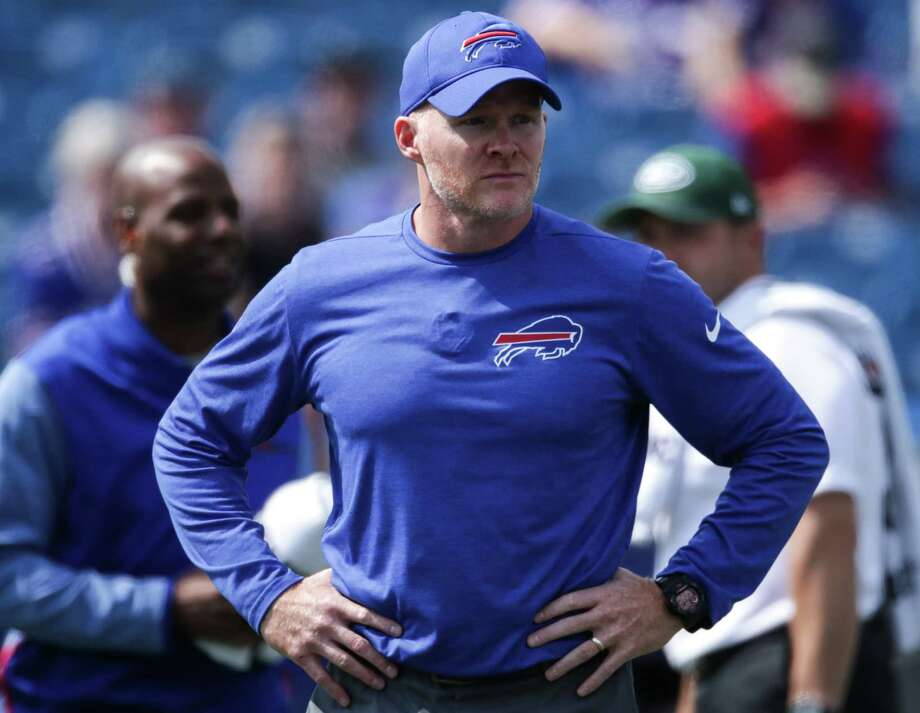 ORCHARD PARK, NY - SEPTEMBER 10:  Head coach Sean McDermott of the Buffalo Bills looks on before a game against the New York Jets on September 10, 2017 at New Era Field in Orchard Park, New York.  (Photo by Tom Szczerbowski/Getty Images) ORG XMIT: 700070601 Photo: Tom Szczerbowski / 2017 Getty Images