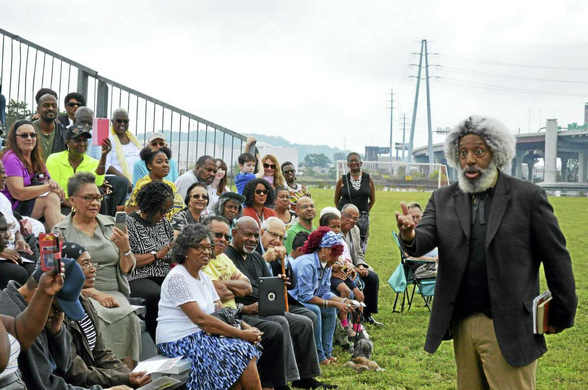 Nathan Richardson portrayed historical abolitionist Frederick Douglass during a celebration of his life and work at the historic site where Douglass spoke to soldiers in the Connecticut 29th Colored Regiment during the Civil War.