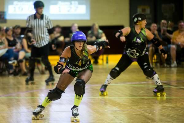Danielle Krzyaniak of Saginaw skates during the Chemical City Derby Girls' bout against the Ann Lansing Dixens on Saturday, September 16, 2017 at Roll-Arena in Midland. (Katy Kildee/kkildee@mdn.net)
