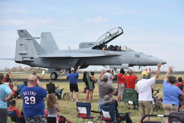 A U.S. Navy F/A-18 Super Hornet demo aircraft taxis during the 27th Annual High Sky Wing AirSho on Sept. 16, 2017, at Midland International Airport. James Durbin/Reporter-Telegram