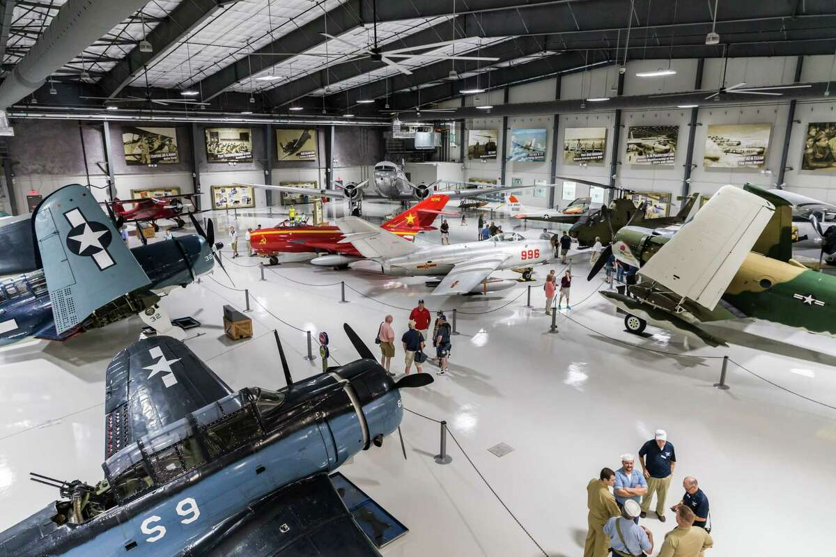 The Waltrip Hangar houses restored aircraft in a 30,000 square foot space in the Lone Star Flight Museum at Ellington Airport in Houston, Texas. (Leslie Plaza Johnson/Freelance)