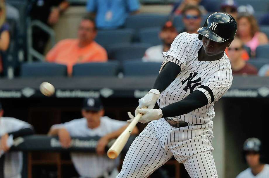 New York Yankees' Didi Gregorius connects for a three-run home run against the Baltimore Orioles during the third inning of a baseball game, Saturday, Sept. 16, 2017, in New York. (AP Photo/Julie Jacobson) ORG XMIT: NYJJ109 Photo: Julie Jacobson / Copyright 2017 The Associated Press. All rights reserved.