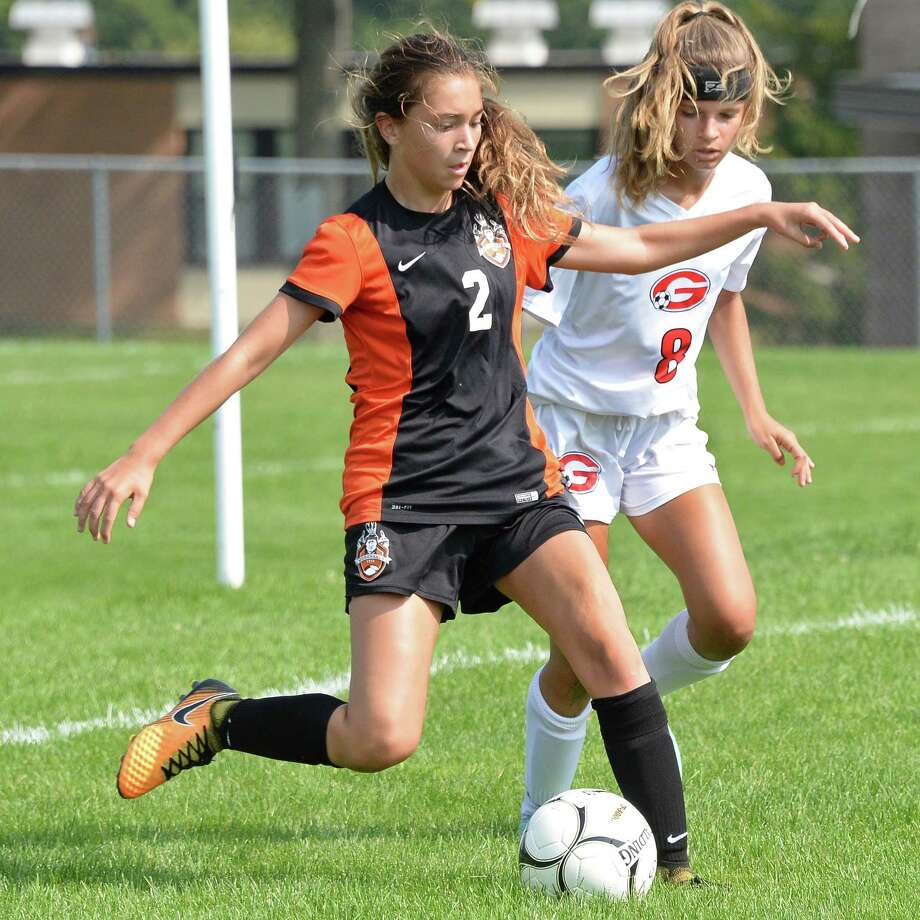 Mohonasen's #2 Olivia Raucci, left, and Guilderland's #8 Cara Mortati during Saturday's game Sept. 16, 2017 in Guilderland, NY.  (John Carl D'Annibale / Times Union) Photo: John Carl D'Annibale / 40041560A