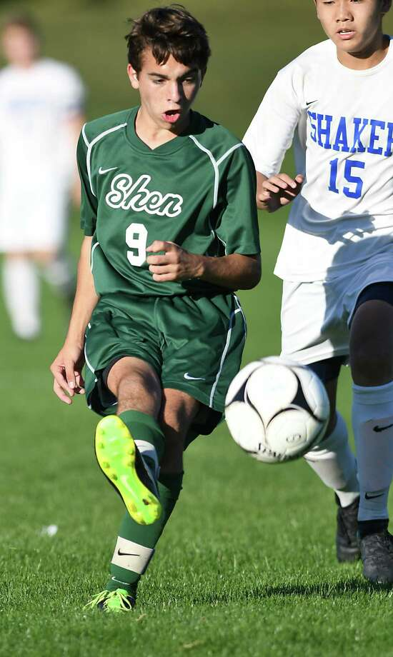 Shenendehowa's Nick Evans kicks the ball during a soccer game against Shaker on Thursday, Oct. 6, 2016 in Latham, N.Y. (Lori Van Buren / Times Union) Photo: Lori Van Buren / 40038253A