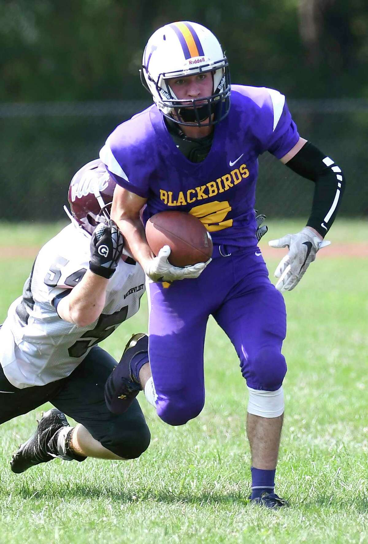 IAN OWENS, VOORHEESVILLE FOOTBALL: Hauled in four passes for 138 yards and three touchdowns as the Blackbirds defeated Coxsackie-Athens 27-6.