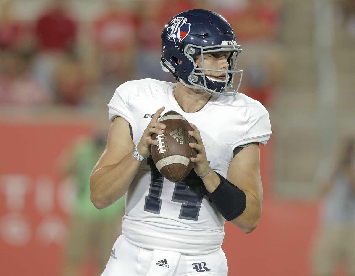 Rice Owls quarterback Jackson Tyner (14) looks to pass in the fourth quarter against Houston Cougars at TDECU Stadium on Saturday, Sept. 16, 2017, in Houston. Houston won the game 38-3 over Rice. ( Elizabeth Conley / Houston Chronicle )