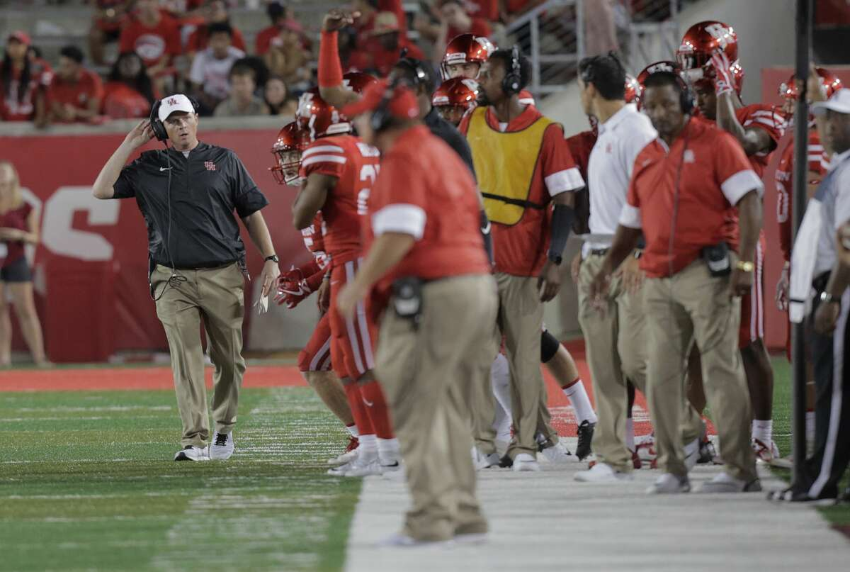 Houston Cougars head coach Major Applewhite stands on the sidelines with his team in the fourth quarter against Rice Owls at TDECU Stadium on Saturday, Sept. 16, 2017, in Houston. Houston won the game 38-3 over Rice. ( Elizabeth Conley / Houston Chronicle )