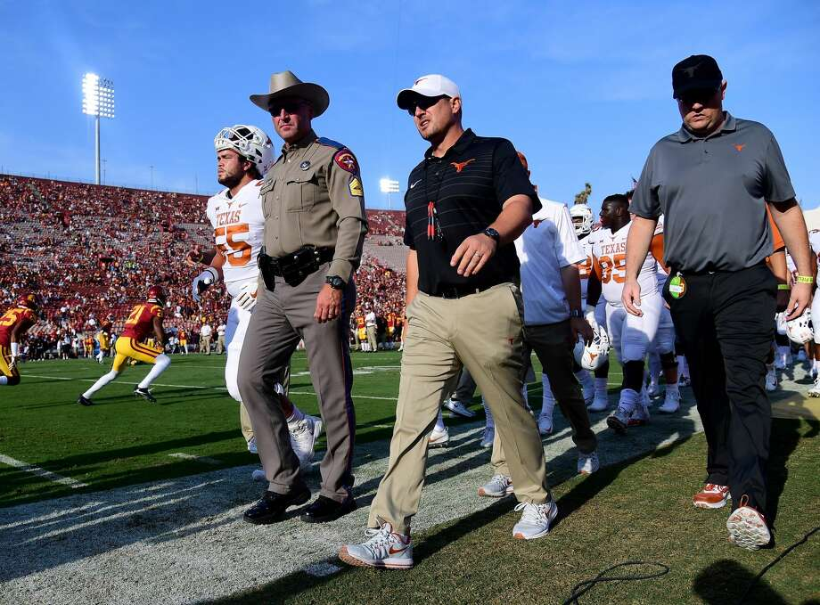 LOS ANGELES, CA - SEPTEMBER 16:  Head coach Tom Herman of the Texas Longhorns walks off the field before the start of the game against the USC Trojans at Los Angeles Memorial Coliseum on September 16, 2017 in Los Angeles, California.  (Photo by Harry How/Getty Images) Photo: Harry How/Getty Images