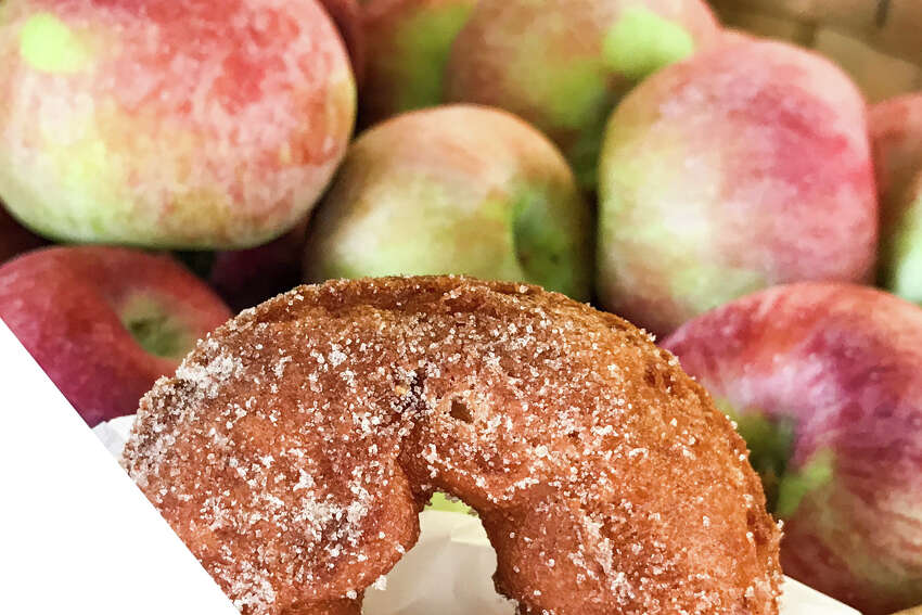Apple cider doughnuts are available as several of the state buildings at The Big E in West Springfield, Massachusetts, on Saturday, September 16, 2017.