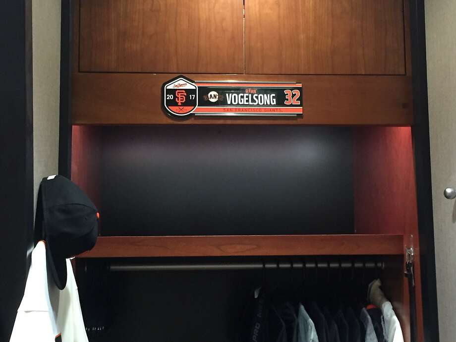 On the day he retires as as Giant, Ryan Vogelsong got a locker and a No. 32 uniform in the home clubhouse at AT&T Park. Photo: Henry Schulman, San Francisco Chronicle