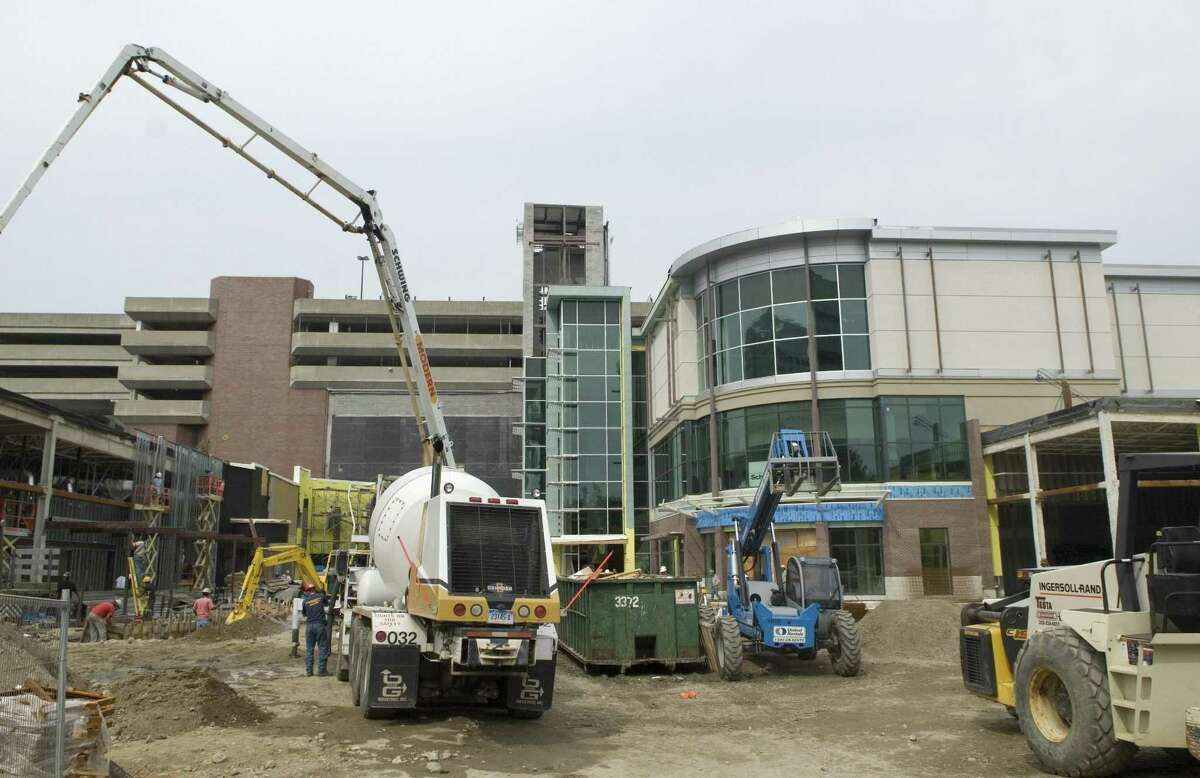 Construction crews expand the Stamford Town Center on Sept. 14, 2007.