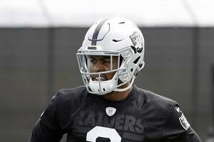 FILE - In this May 30, 2017, file photo, Oakland Raiders cornerback Gareon Conley looks on during the team's organized team activity at its NFL football training facility, in Alameda, Calif. After missing more than two months and  the entire exhibition season because of a shin injury, Raiders first-round pick Gareon Conley is rushing to get ready for the opener. (AP Photo/Marcio Jose Sanchez, File)