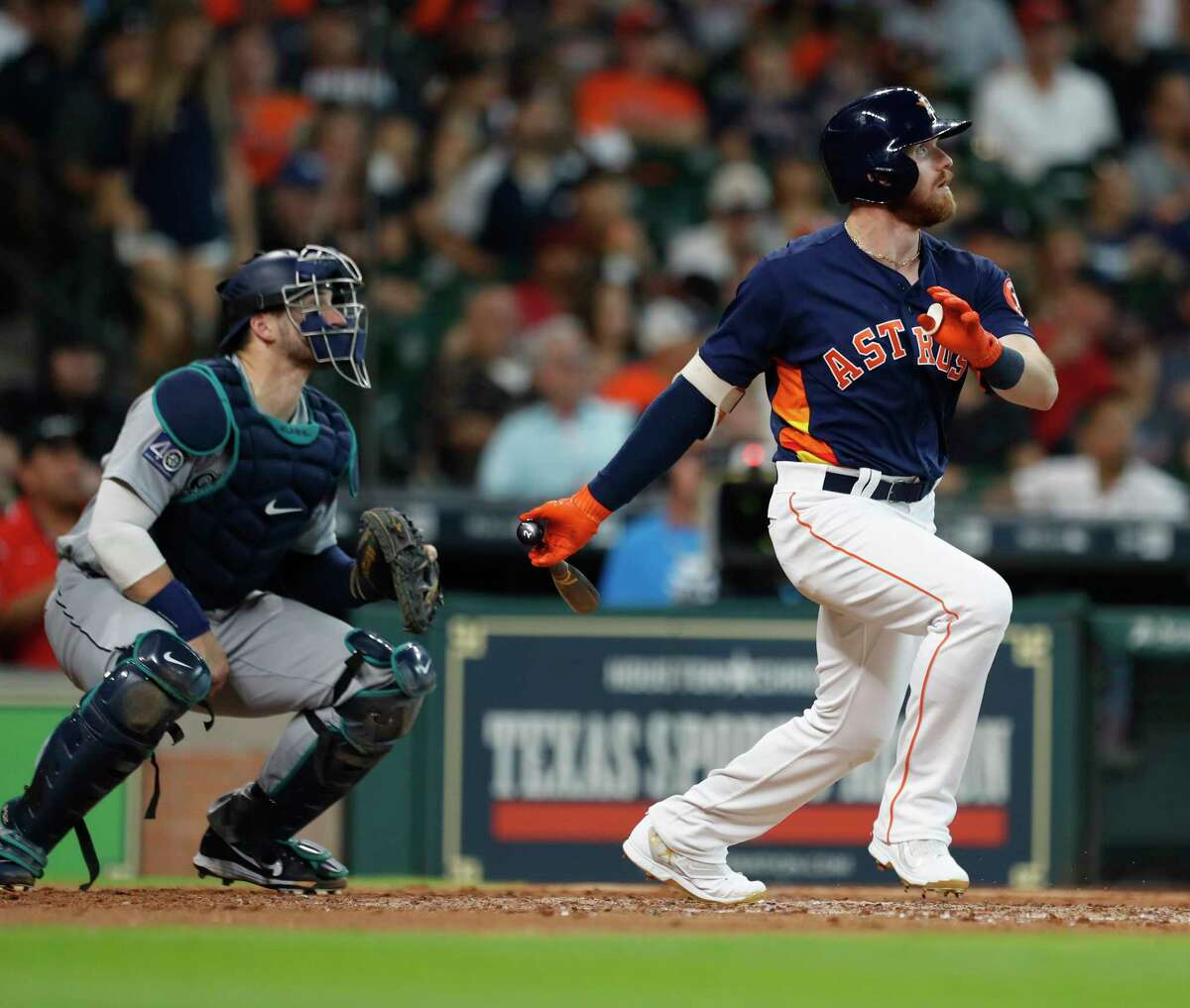 Houston Astros left fielder Derek Fisher (21) hits a two run home run during the fifth inning of an MLB baseball game at Minute Maid Park, Sunday, Sept. 17, 2017, in Houston.