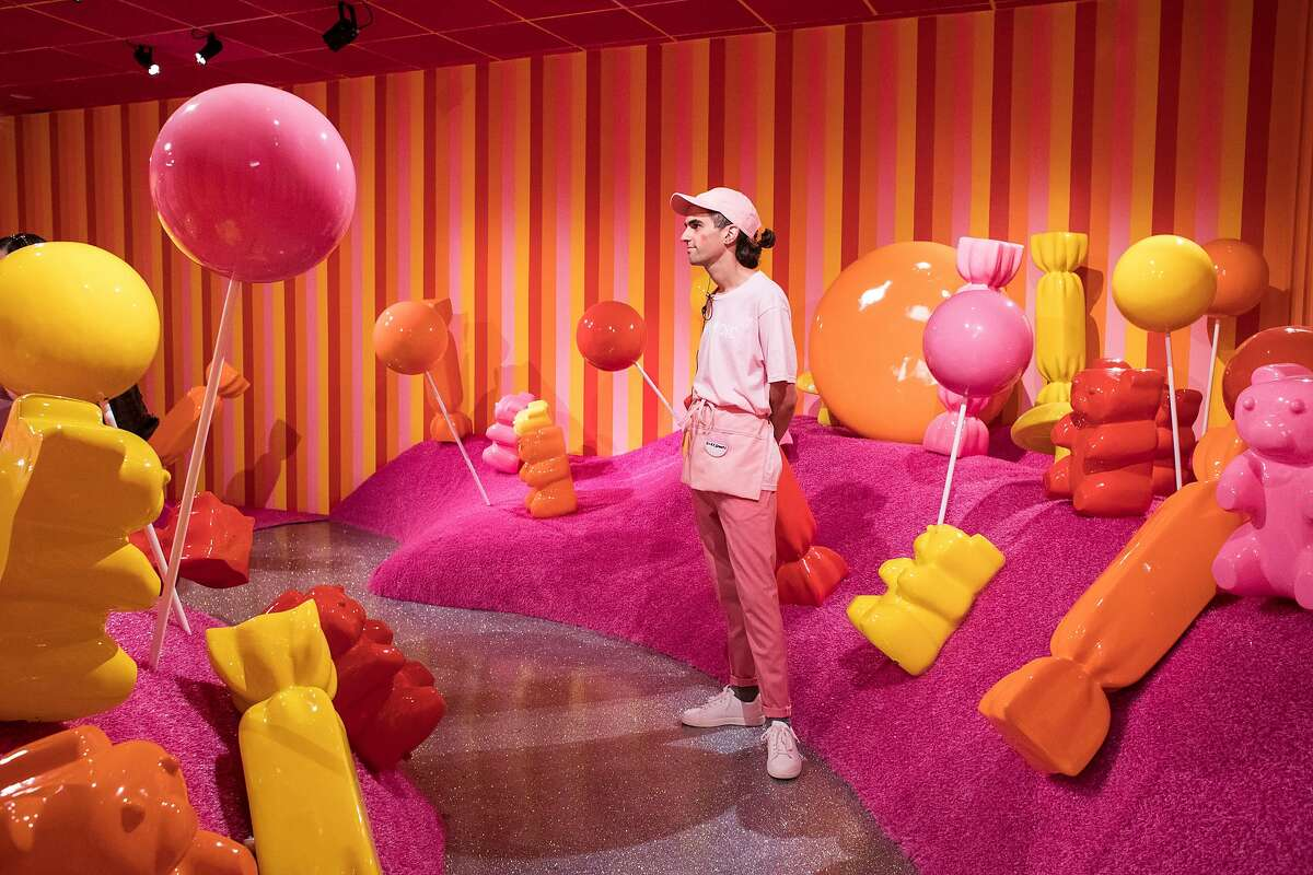 Silk Worm works in the Gummy Garden room at the Museum of Ice Cream in San Francisco, Calif., on Sunday, September 17, 2017. The pop-up exhibit opened to the public on Sunday.