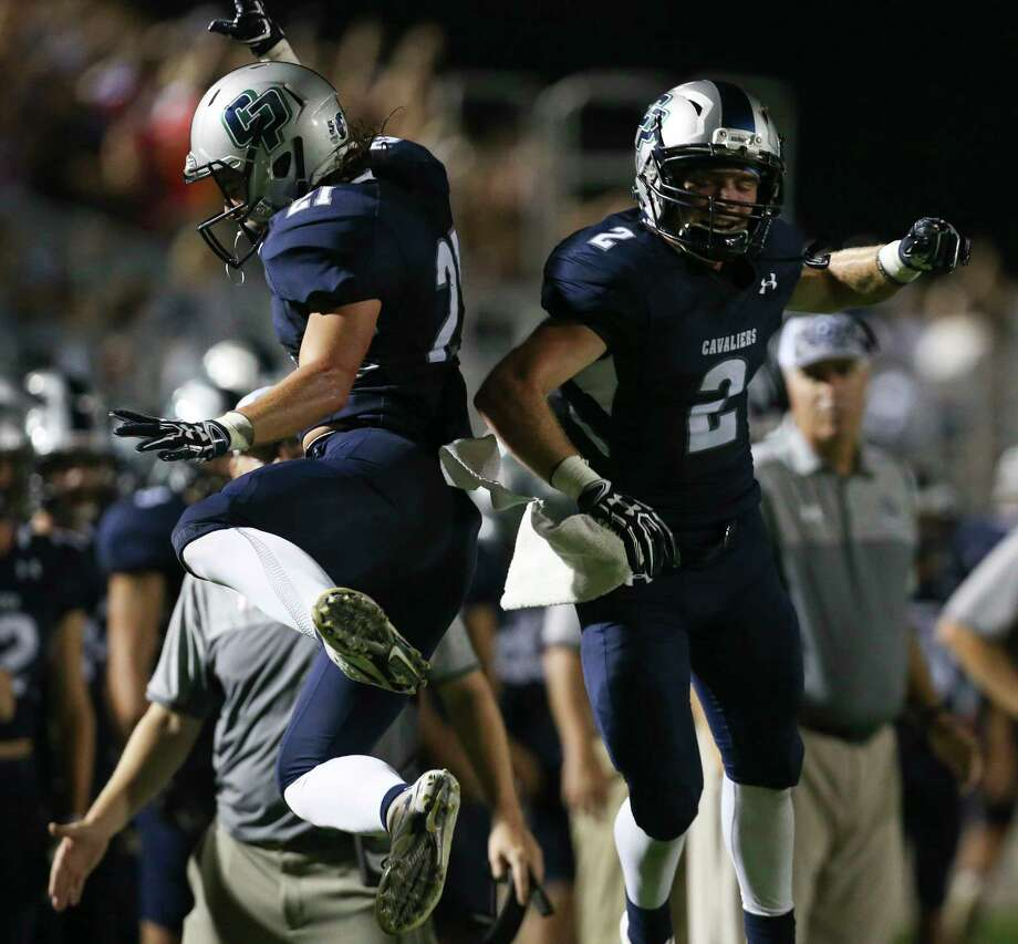 College Park's running backs Daniel Vann and Travis Washburn celebrate Vann's touchdown during the first half of the game against Tomball at the Woodforest Bank Stadium Friday, Sept. 8, 2017, in The Woodlands. ( Yi-Chin Lee / Houston Chronicle ) Photo: Yi-Chin Lee, Staff / Internal
