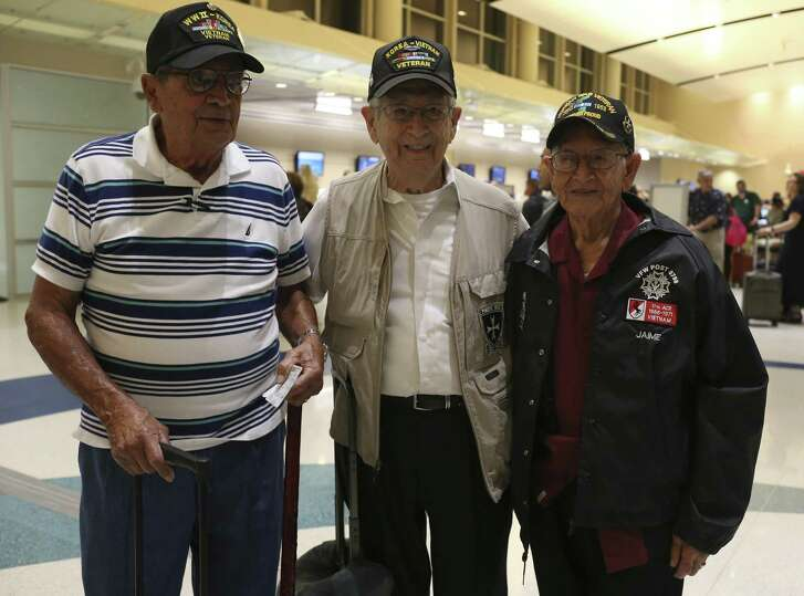 """Korean War veterans from left, Ismael Nevarez, 91, Victor Lopez, 89 and Daniel Jaime, 85, arrive at the San Antonio International Airport for their flight to Korea, Sunday, Sept. 17, 2017. They served in the U.S. Army 65th Infantry Regiment known as """"The Borinqueneers"""". The regiment was a segregated unit made up of mostly Puerto Ricans. Nevarez and Lopez are from Puerto Rico but now live in San Antonio and Jaime is from McAllen and was born in Mexican state of Nuevo Leon."""