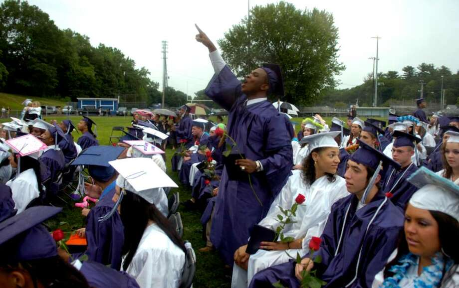 Ansonia High School students celebrate their graduation with a ceremony at Jarvis Field Tuesday, June 22, 2010. Photo: Lindsay Niegelberg / Connecticut Post