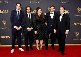 LOS ANGELES, CA - SEPTEMBER 17:  (L-R) Actors Pete Davidson, Kyle Mooney, Aidy Bryant, Mikey Day and Beck Bennett attend the 69th Annual Primetime Emmy Awards at Microsoft Theater on September 17, 2017 in Los Angeles, California.  (Photo by Frazer Harrison/Getty Images)