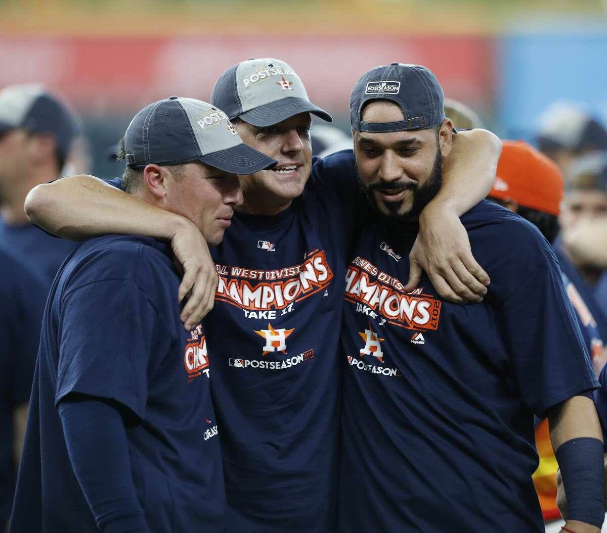 PHOTOS: What the Astros' playoff merchandise looks like Immediately after clinching the American League West division championship, players and coaches - like Alex Bregman, A.J. Hinch and Marwin Gonzalez - donned championship gear. Now, plans can buy that same merchandise. Browse through the photos above for a look at the Astros' playoff merchandise that's for sale.