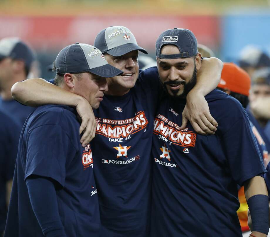 PHOTOS: What the Astros' playoff merchandise looks likeImmediately after clinching the American League West division championship, players and coaches - like Alex Bregman, A.J. Hinch and Marwin Gonzalez - donned championship gear. Now, plans can buy that same merchandise.Browse through the photos above for a look at the Astros' playoff merchandise that's for sale. Photo: Karen Warren/Houston Chronicle