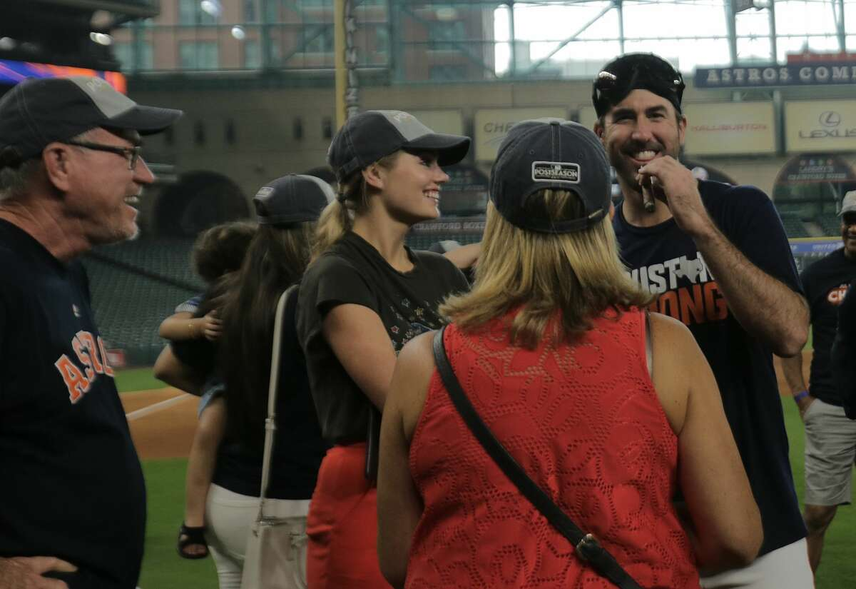 Astros players being accompanied by their families, like Justin Verlander with his wife Kate Upton and his family here at Minute Maid Park in 2017, is part of baseball, except during a pandemic.