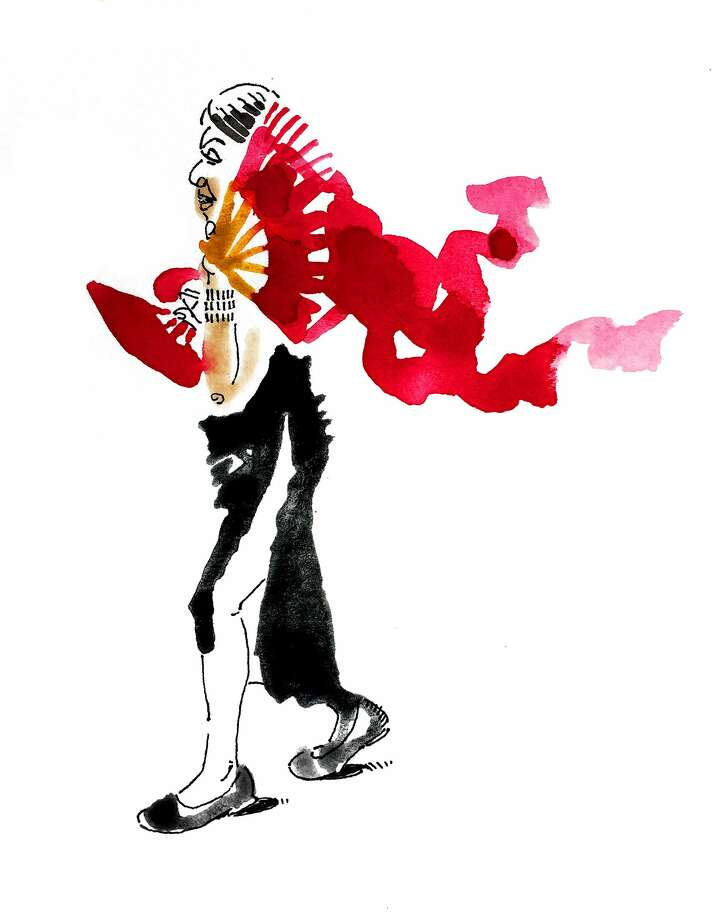 A Grant Avenue Follies dancer welcomes attendees to the Opera Ball. Photo: Illustration, George McCalman