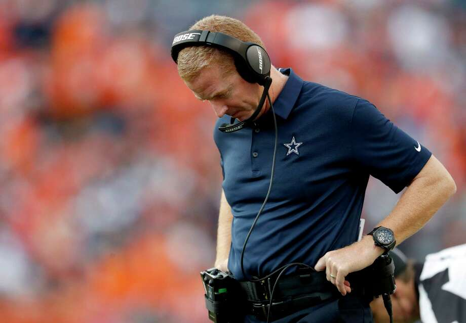 Dallas Cowboys head coach Jason Garrett looks down during the second half of an NFL football game against the Denver Broncos, Sunday, Sept. 17, 2017, in Denver. (AP Photo/Joe Mahoney) Photo: Joe Mahoney, FRE / FR170458 AP